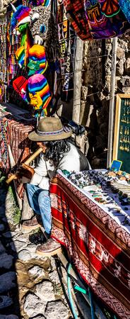 Street musician in Ollantaytambo, Peru.