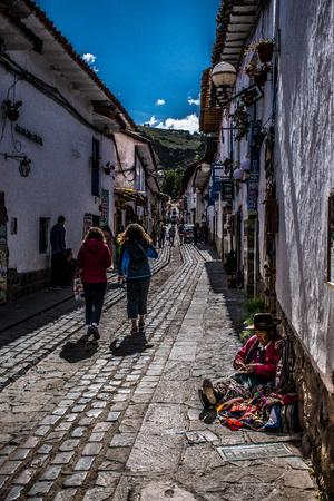 Streets of San Blas neighborhood in Cusco, Peru. Редакционное