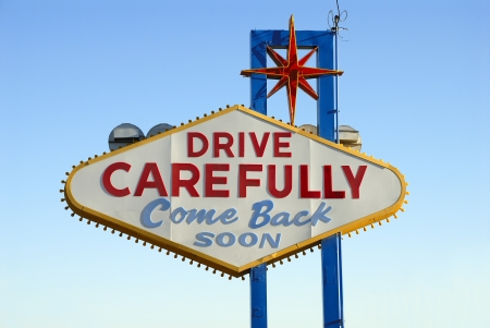 Back of the Famous Welcome to Fabulous Las Vegas Nevada Sign Stock Photo