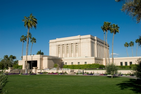 mormon temple: Temple of the Church of Jesus Christ of Latter-day Saints located in Mesa Arizona Stock Photo