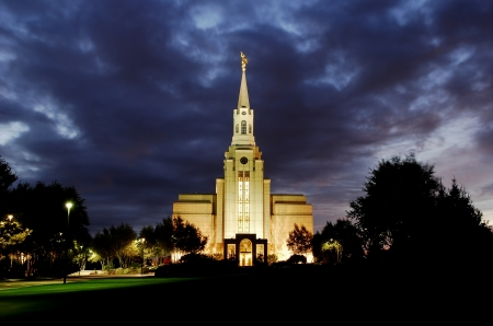 Evening shot of the Boston Massachusetts Temple of the Church of Jesus Christ of Latter-day Saints