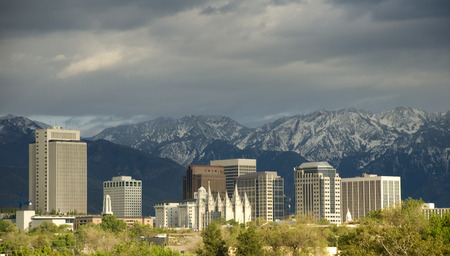 city center: Salt Lake City Utah Skyline with a Storm Approaching