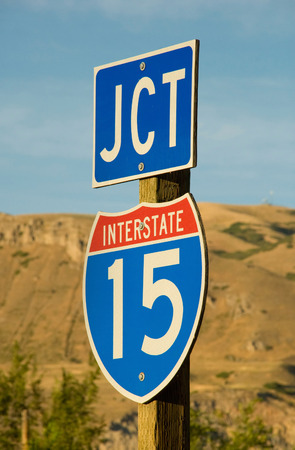 Junction sign for I-15, the main freeway that travels northsouth through California, Nevada, Utah, Idaho, and Montana Stock Photo