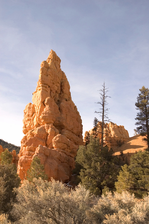 Beautiful red-rock formation reflecting the sun in the evening light at Bryce Canyon, Utah.
