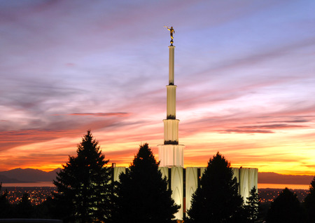 Provo Temple of the Church of Jesus Christ of Latter-day Saints in Provo Utah at Sunset