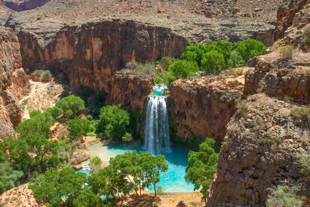 Havasu Falls Oasis in the middle of the Arizona Desert.  Landscape image taken from above the falls.