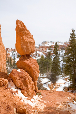 Incredible stacked rocks in Bryce Canyon, Utah during the winter time. Stock Photo