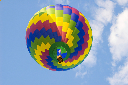 Hot air balloon soaring higher by inflating with heated air