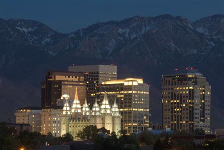Skyline of Salt Lake City at night. Stock Photo