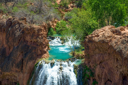 View of the pool at the top of the world famous Havasu Falls.