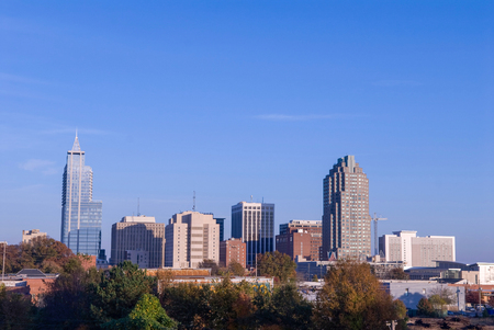 Downtown skyline of Raleigh, North Carolina at midday.
