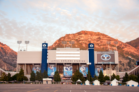 Lavell Edwards Stadium at Brigham Young University (BYU) with the Wasatch mountain range in the background