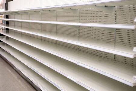 Empty Shelves at the grocery store due to panic buying as a result of the COVID-19 Pandemic