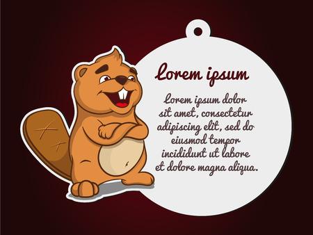 Sticker animal. Beaver named Boris