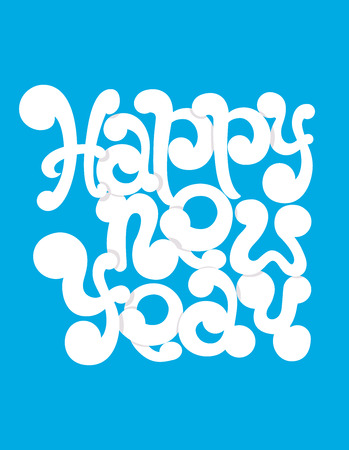 Happy New Year hand-lettering text. Illustration