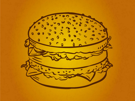 lucy: illustration of a burger, vector drawing Illustration