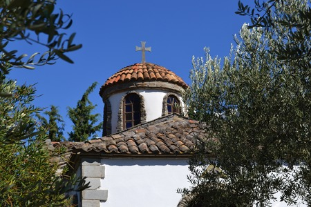 A typical Greek white church building, Halkidiki, Greece Stock Photo