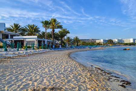 Seascape. View on the city beach. Ayia Napa. Cyprus