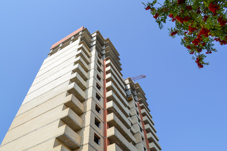 Multi-storey building. Construction of multi-storey residential building Stock Photo