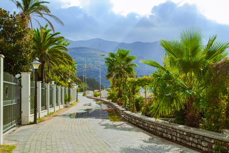 Montenegro, the Budva Riviera, Becici bay waterfront promenade