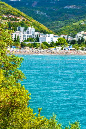 Sea view from the mountain. View of the beautiful bay of the Adriatic Sea. Stock Photo