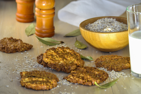 Homemade oatmeal cookies and breakfast oatmeal Stock Photo