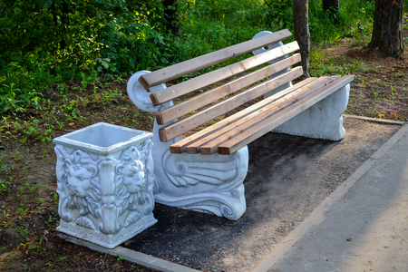 Superbe Park Bench With Trashcan , Part Of City Infrastructure, Comfortable Relax  Stock Photo   89635663