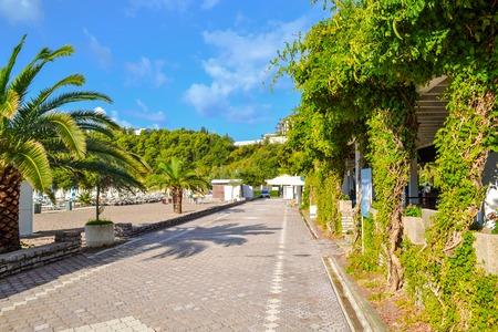 kotor: Montenegro, the Budva Riviera, Vecici bay waterfront promenade on a sunny day