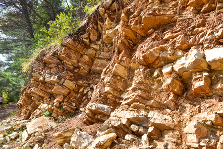 soil erosion: Texture of the rock. Large rocks exfoliate from the rock.