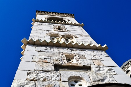 Tower of the Cathedral of the Resurrection of Christ in Podgorica against the blue sky, Montenegro