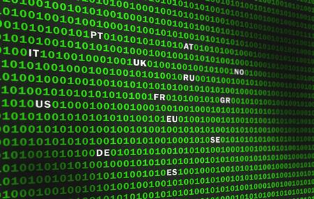 Green binary code. Domain names Europe, US 스톡 콘텐츠