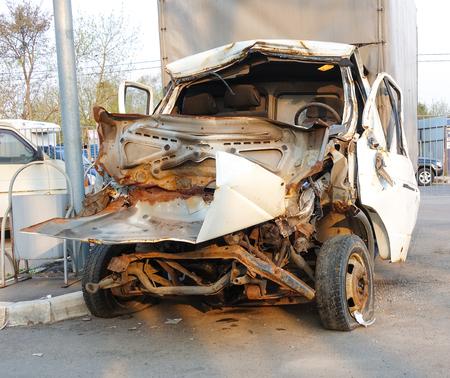 Cargo van broken in a road accident. Russia. Frontal collision Reklamní fotografie