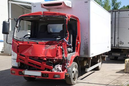 Truck after the accident in the parking lot. Stock fotó