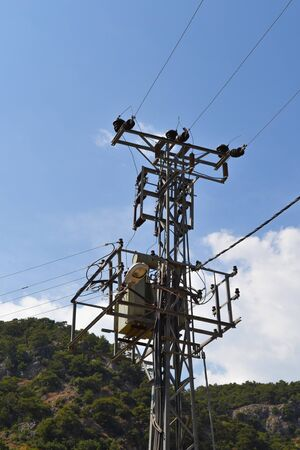 Electric pole for power distribution. Turkey