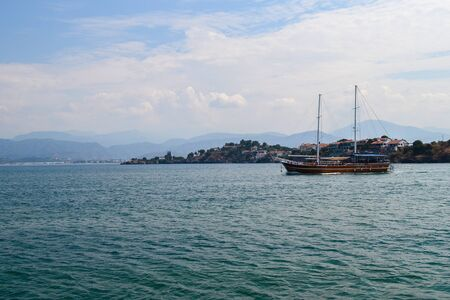 June 17, 2019 Fethiye Turkey. - Sailing pleasure boat for tourist boat trips in the Mediterranean Editöryel