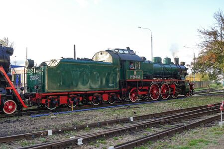 September 13, 2019 Russia, Moscow. - Old steam locomotive at the exhibition of railway transport