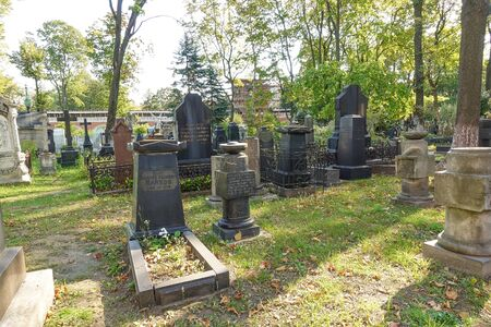 September 12, 2019 Moscow Don Monastery. - Old cemetery and many old graves Editöryel