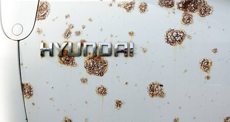 October 4, 2019 MOSCOW - The inscription Hyundai on a rusting iron surface.