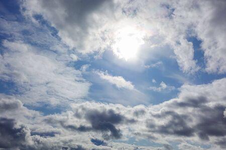 Beautyful blue sky with fleecy cloud