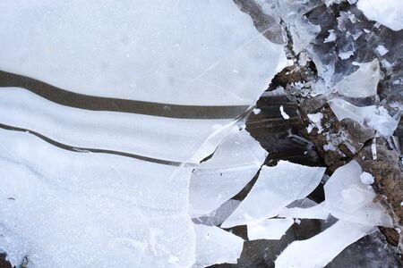 Broken ice. Abstract natural winter background