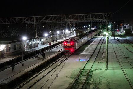 Railway station at night. Winter night in Russia Stok Fotoğraf
