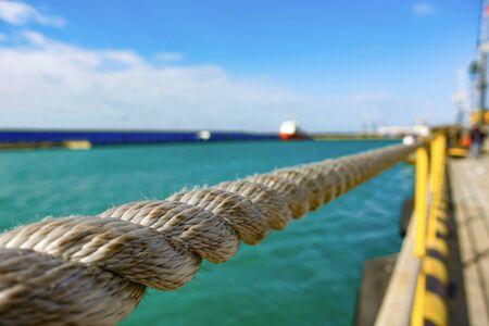Handrail made of nautical rope at sea