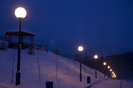 night lanterns in winter season photo