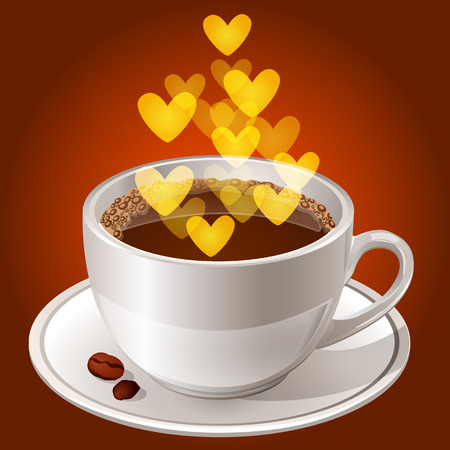 Realistic white cup of coffee on a saucer, with coffee beans and smoke in the form of a heart. Vector illustration Isolated on brown background. Illustration