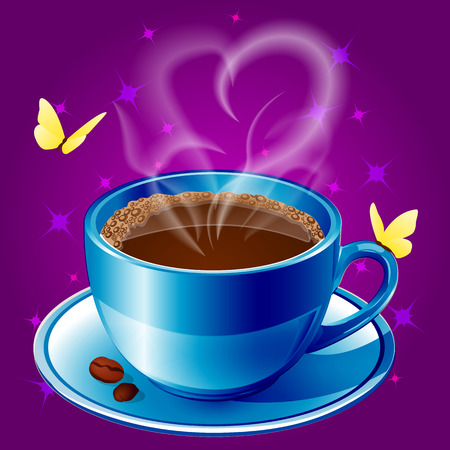 Realistic blue cup of coffee on a saucer, with coffee beans, yellow butterflies and steam in the form of a heart. Vector illustration isolated on purple background. Illustration