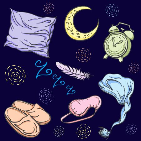 Hand drawn Set for sleep. Lovely things for the bedroom. Good night. Sweet Dreams. Crescent, alarm clock, feather, sleeping mask, pillow, slippers, nightcap. Foto de archivo - 137569831
