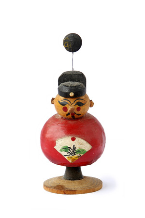 propitious: The Red Auspicious Chinese Doll of Chinese New Year on White Background.