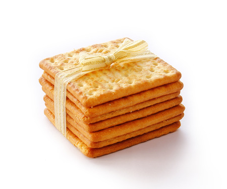Salty Crackers are on white background. photo