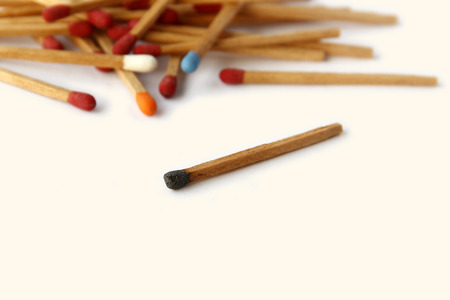 Colourful of matches are on white background. Business abstract, meeting, expelling photo