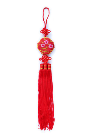 propitious: Chinese new year decoration on white background.
